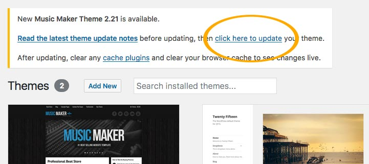 How to Update the Music Maker Theme – Music Maker WordPress