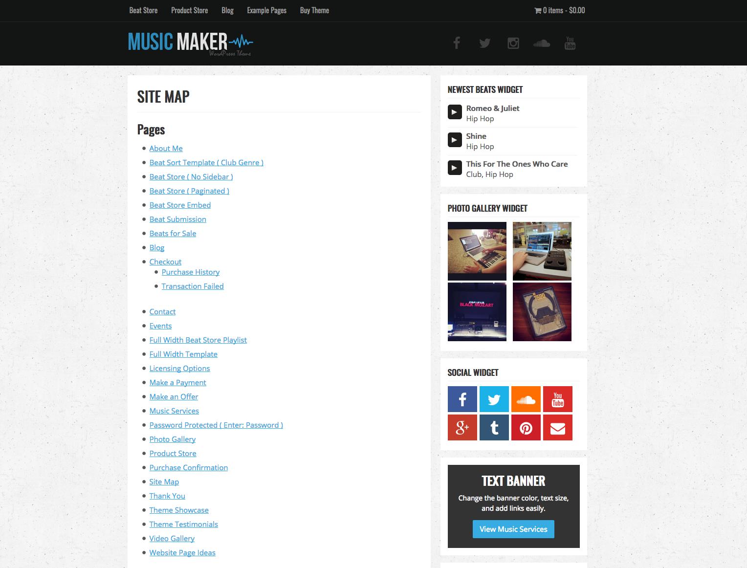 Site Map Template Music Maker Wordpress Theme Help