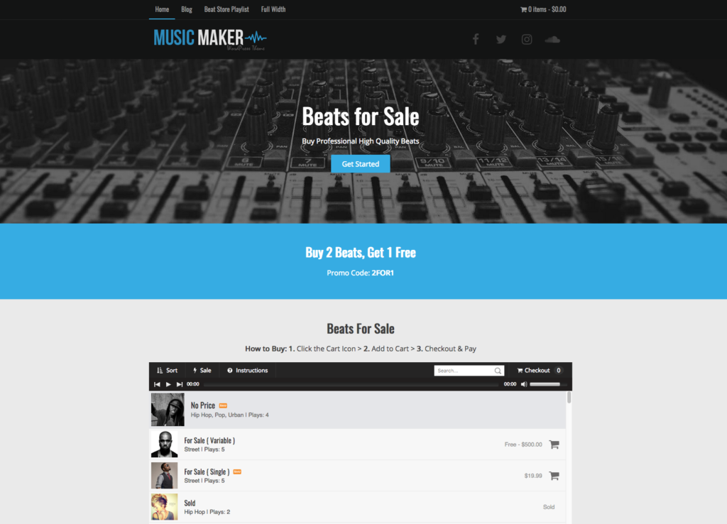 Frontpage Sections One Page Music Maker WordPress Theme Help - Website front page template